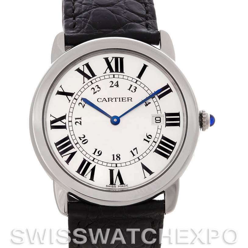 4655 Cartier Ronde Solo Steel Mens Watch W6700255 SwissWatchExpo