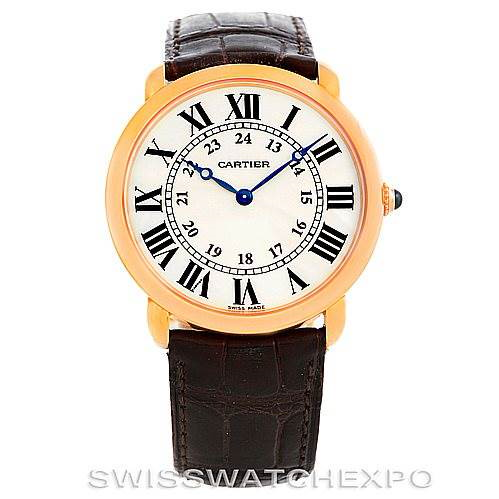 Cartier Ronde Louis 18K Rose Gold Mens Watch W6800251 SwissWatchExpo