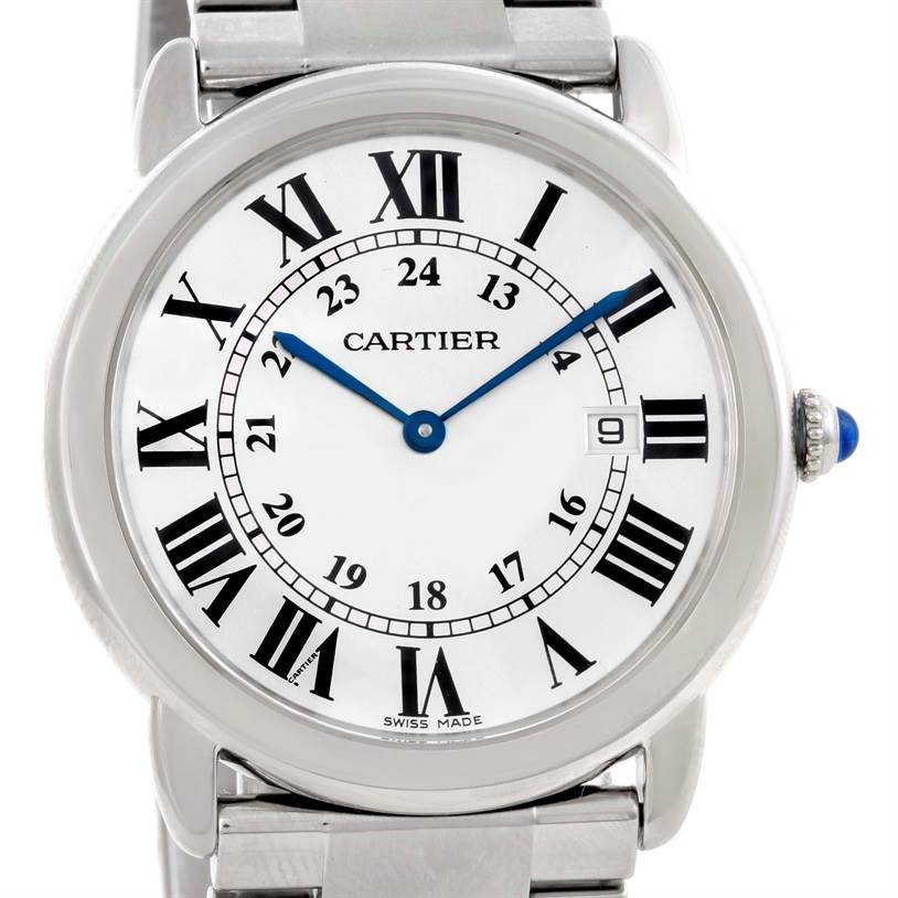 9737 Cartier Ronde Solo Large Stainless Steel Mens Watch W6701005 SwissWatchExpo