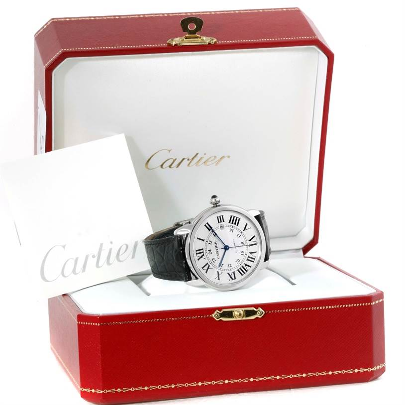 10015 Cartier Ronde Solo Automatic Stainless Steel Mens Watch W6701010 SwissWatchExpo