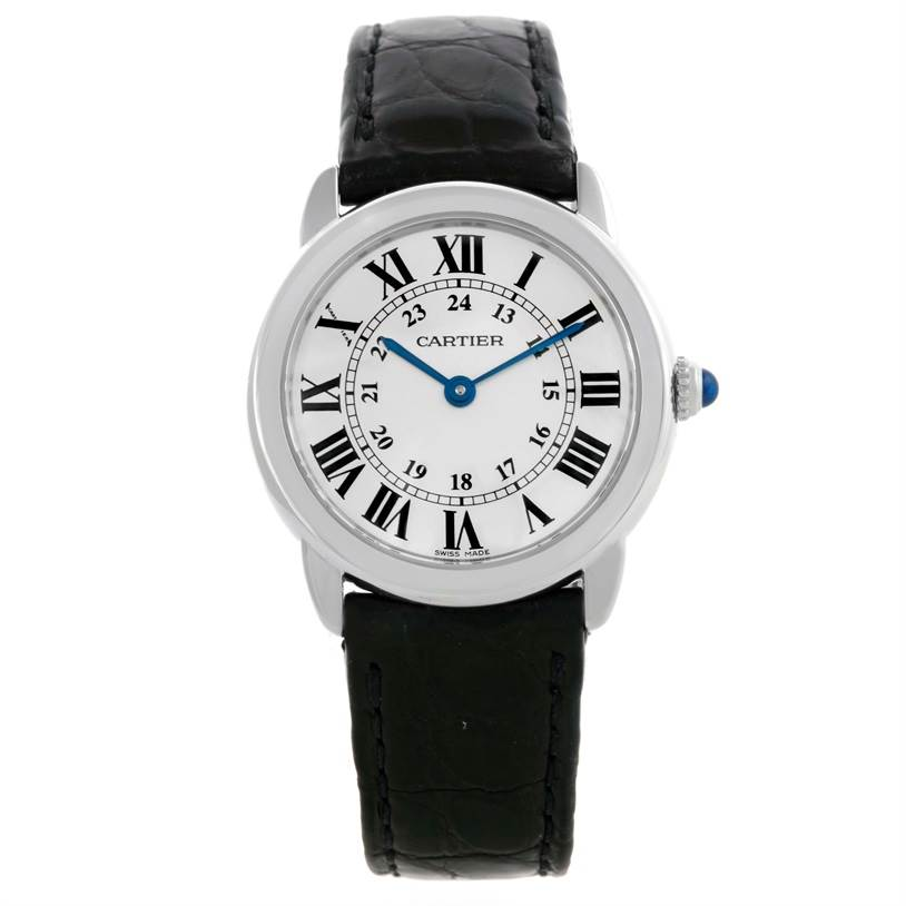 9982 Cartier Ronde Solo Steel Ladies Silver Dial Watch W6700155 SwissWatchExpo