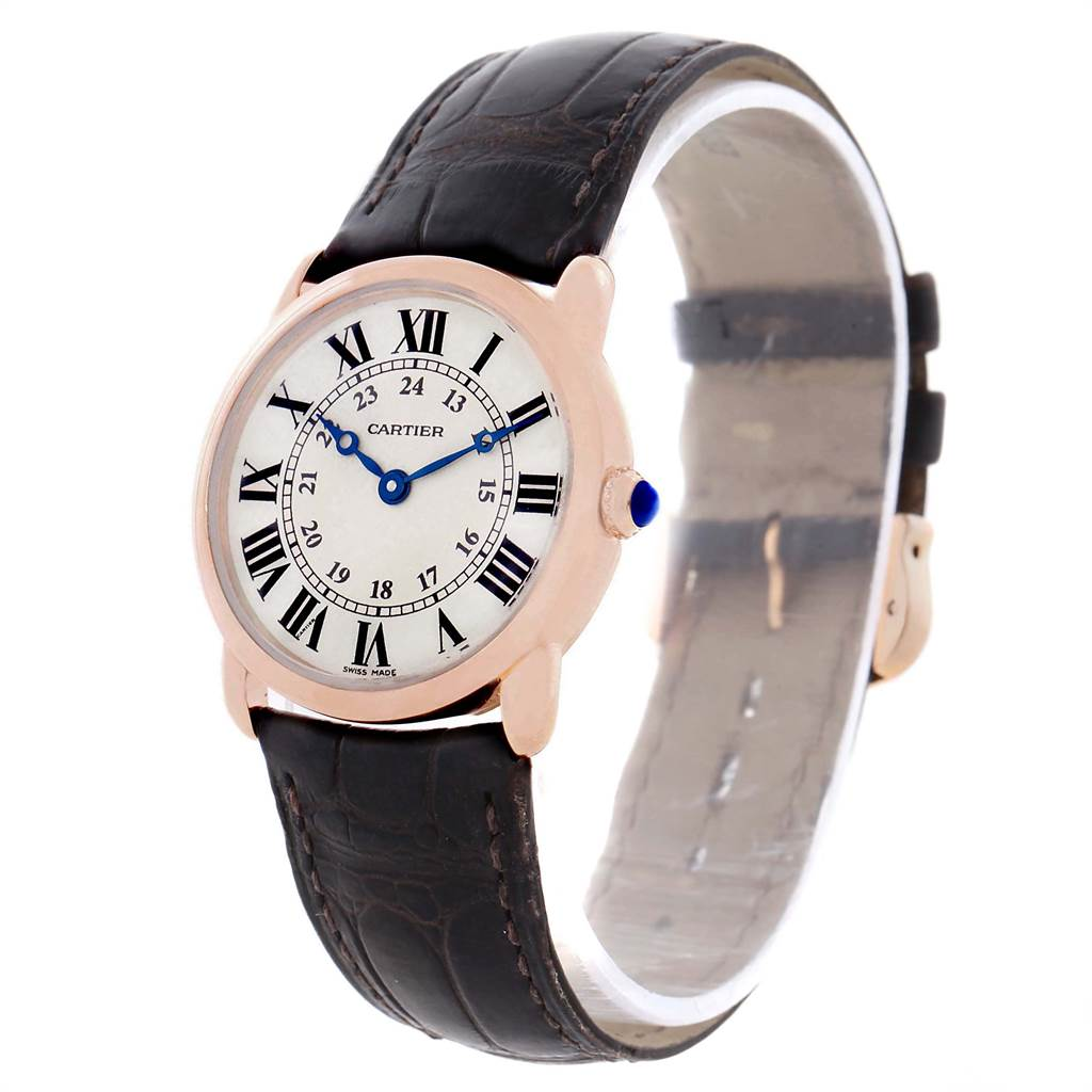 11818A Cartier Ronde Louis Rose Gold Brown Strap Ladies Watch W6800151 SwissWatchExpo