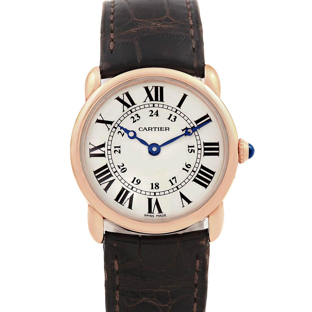 Cartier Ronde Louis Rose Gold Brown Strap Ladies Watch W6800151 SwissWatchExpo