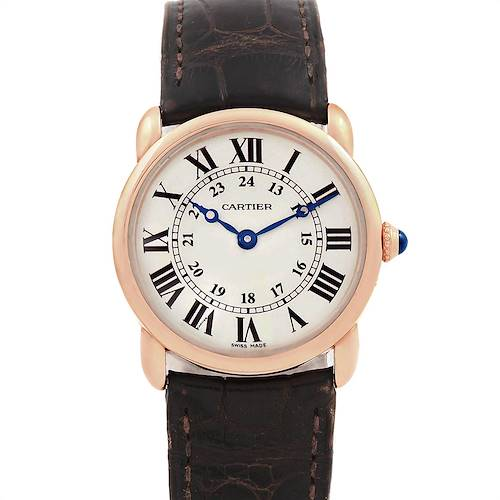 Photo of Cartier Ronde Louis Rose Gold Brown Strap Ladies Watch W6800151