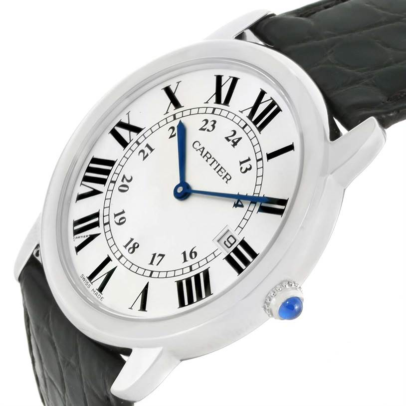 12852 Cartier Ronde Solo Large Steel Black Leather Watch W6700255 Box Papers SwissWatchExpo