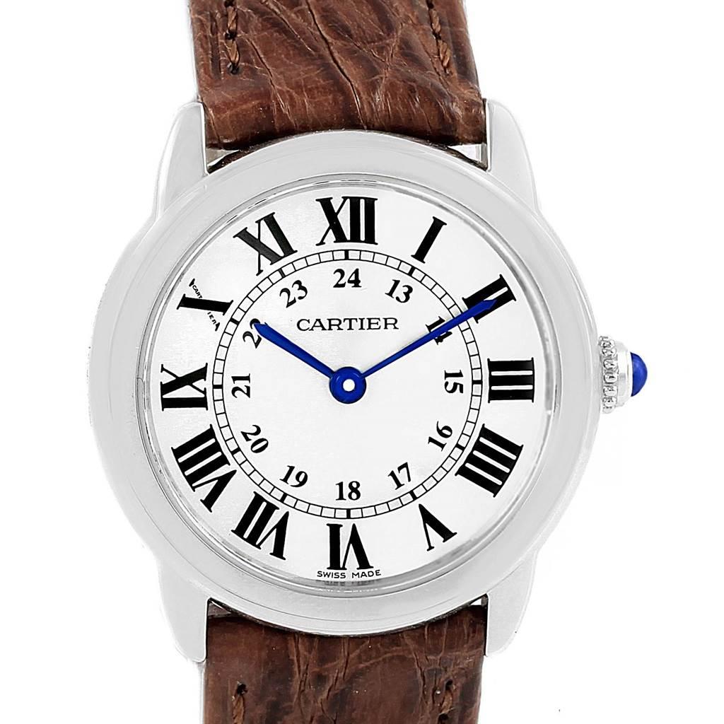 6ea38c6c036 15053 Cartier Ronde Solo Silver Dial Brown Strap Steel Ladies Watch  W6700155 SwissWatchExpo ...