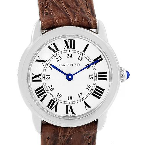 Photo of Cartier Ronde Solo Silver Dial Brown Strap Steel Ladies Watch W6700155