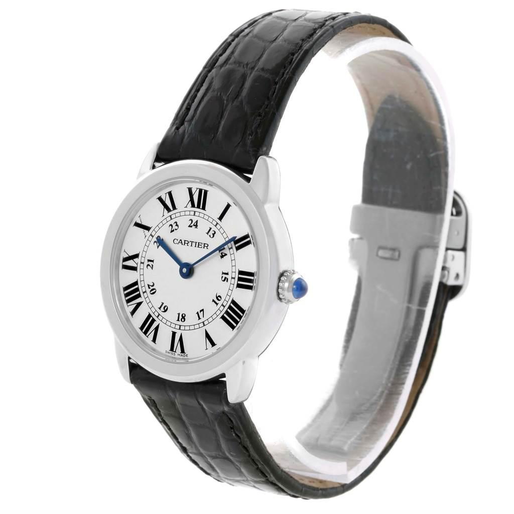 18772 Cartier Ronde Solo Silver Dial Black Strap Steel Ladies Watch W6700155 SwissWatchExpo