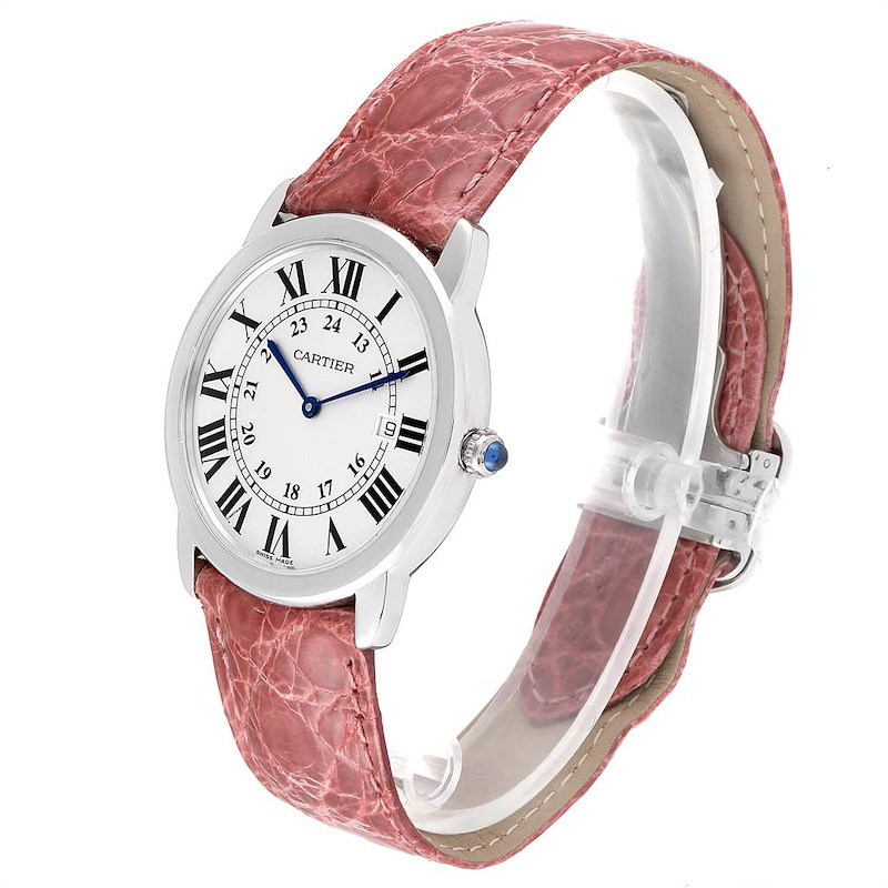 Cartier Ronde Solo Pink Strap Large Unisex Watch W6700255 Box Papers SwissWatchExpo
