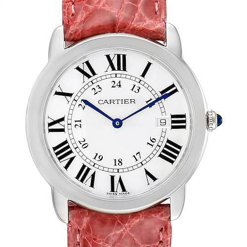 Photo of Cartier Ronde Solo Pink Strap Large Unisex Watch W6700255 Box Papers