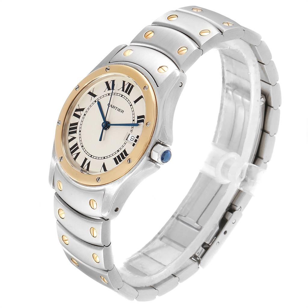 Cartier Santos Ronde 33mm Yellow Gold Steel Unisex Watch W20036R3 SwissWatchExpo