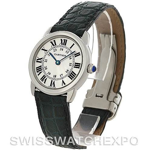 4147 Cartier Ronde Solo Steel Black Leather Ladies Watch W6700155 SwissWatchExpo
