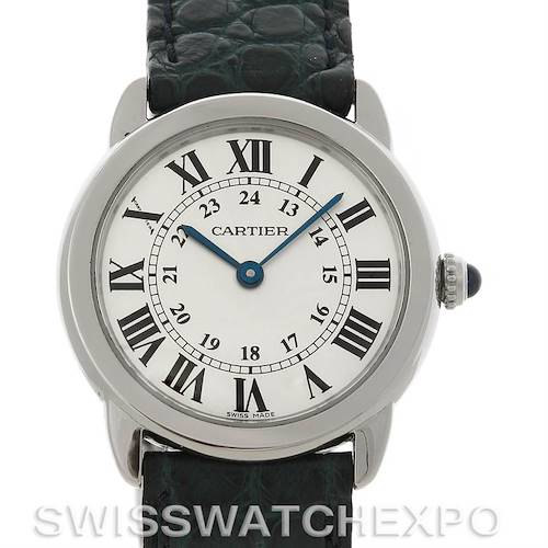 Photo of Cartier Ronde Solo Steel Black Leather Ladies Watch W6700155