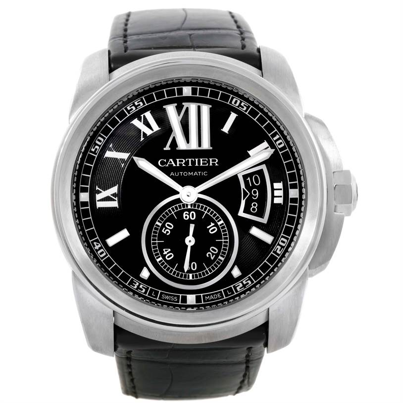 Cartier Calibre Steel Automatic Black Dial Mens Watch W7100041 SwissWatchExpo