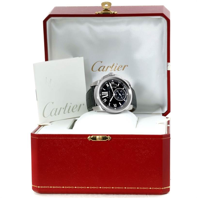 10004 Cartier Calibre Steel Automatic Black Dial Mens Watch W7100041 SwissWatchExpo