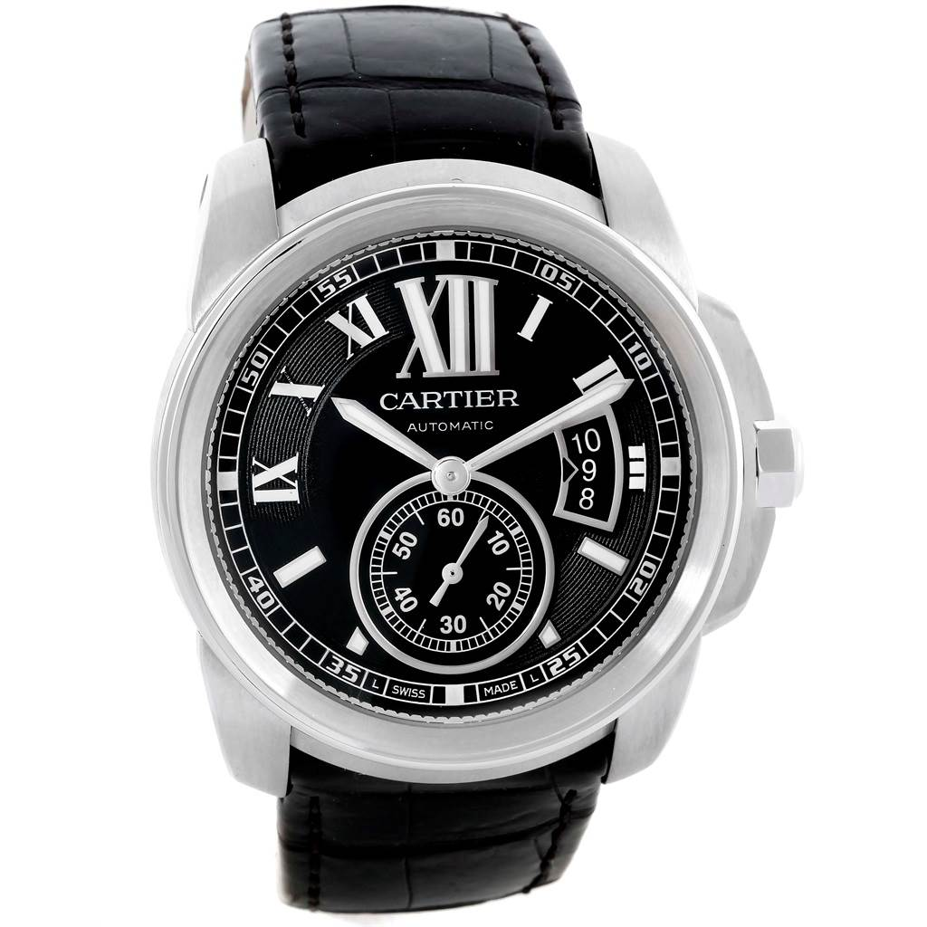 10005 Cartier Calibre Steel Automatic Black Dial Mens Watch W7100041 SwissWatchExpo