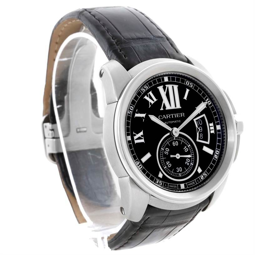 11470 Cartier Calibre Steel Automatic Black Dial Mens Watch W7100041 SwissWatchExpo