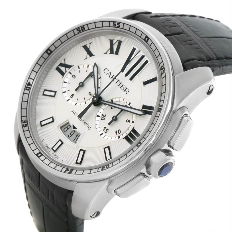 Cartier Calibre Chronograph Silver Dial Steel Mens Watch W7100046 SwissWatchExpo