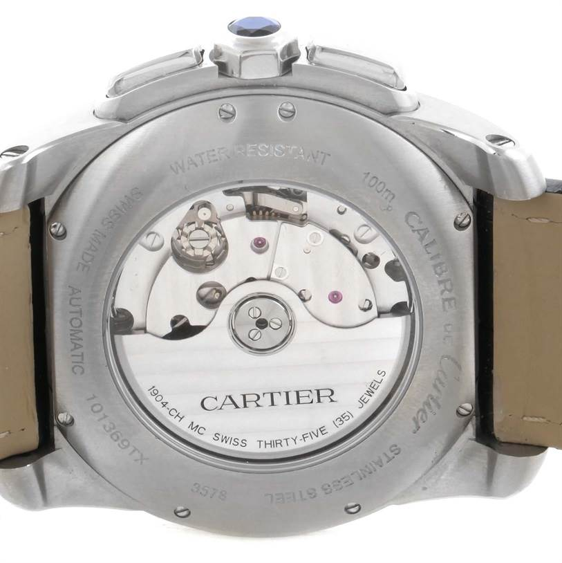 11629 Cartier Calibre Chronograph Silver Dial Steel Mens Watch W7100046 SwissWatchExpo