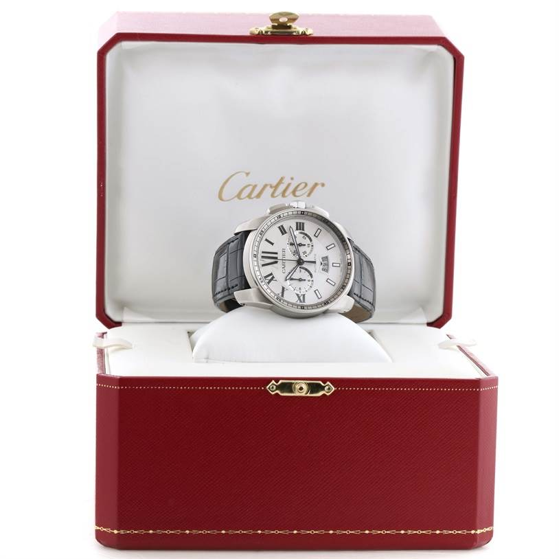 11627 Calibre De Cartier Steel Chronograph Silver Dial Mens Watch W7100046 SwissWatchExpo