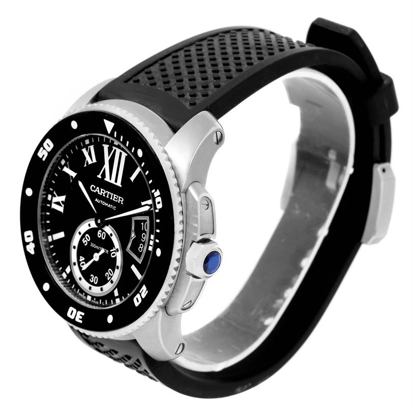 12729  Cartier Calibre Divers Black Dial Rubber Strap Mens Watch W7100056 SwissWatchExpo