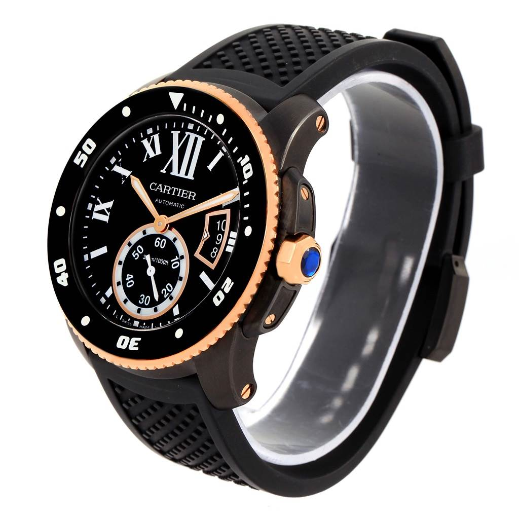 13968 Cartier Calibre Diver Carbon Rose Gold Rubber Strap Mens Watch W2CA0004 SwissWatchExpo