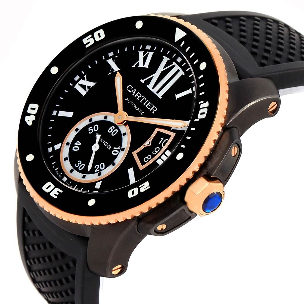 Cartier Calibre Diver Carbon Rose Gold Rubber Strap Mens Watch W2CA0004 SwissWatchExpo