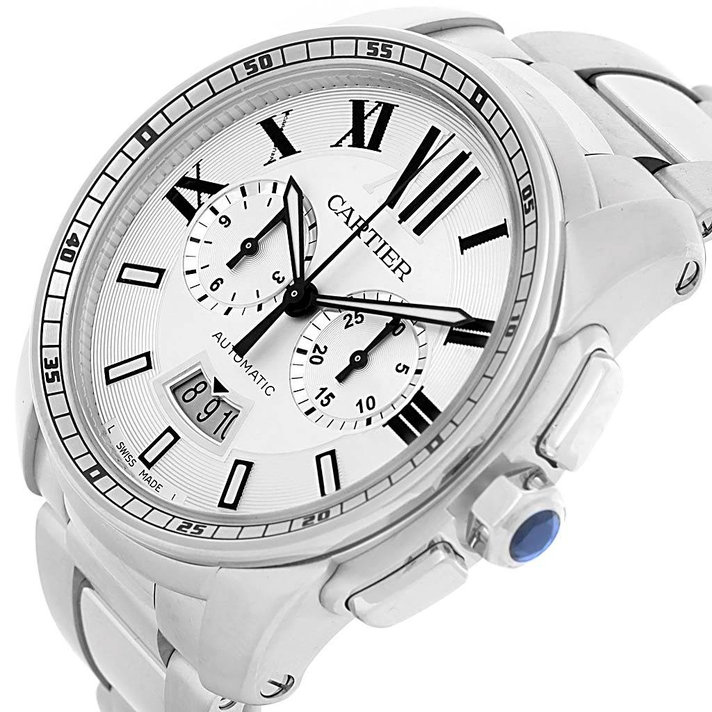 14368 Cartier Calibre Stainless Steel Chronograph Mens Watch W7100045 SwissWatchExpo