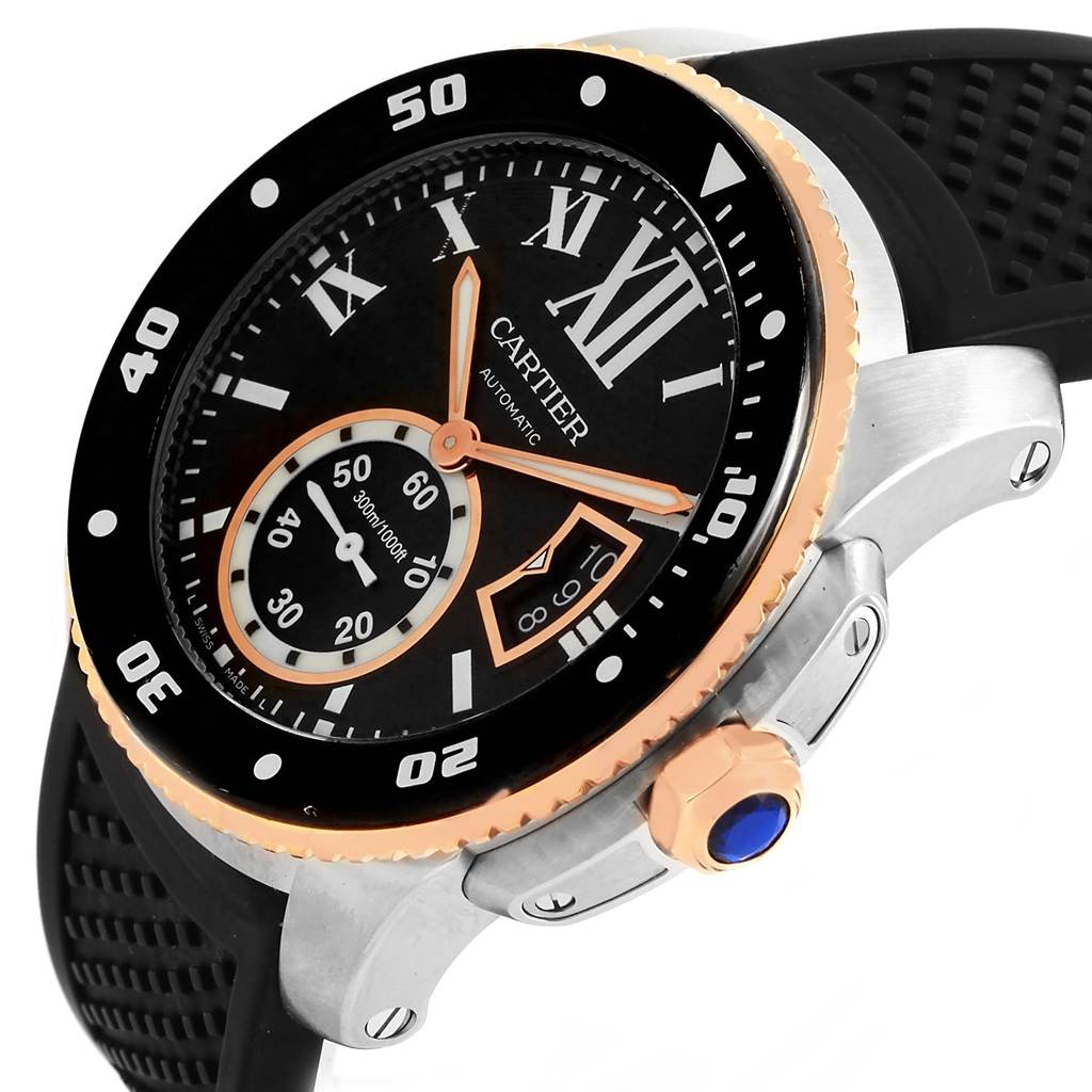 15232 Cartier Calibre Diver Steel Rose Gold Rubber Strap Mens Watch W7100055 SwissWatchExpo