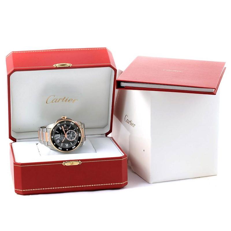 Cartier Calibre Diver Steel Rose Gold Black Dial Mens Watch W7100054 SwissWatchExpo