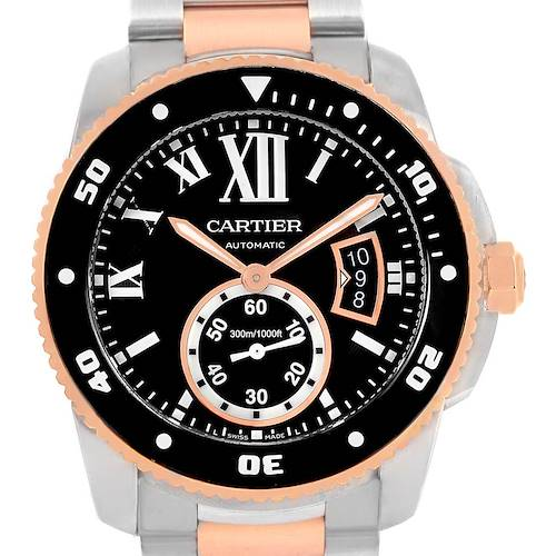 Photo of Cartier Calibre Diver Steel Rose Gold Black Dial Mens Watch W7100054