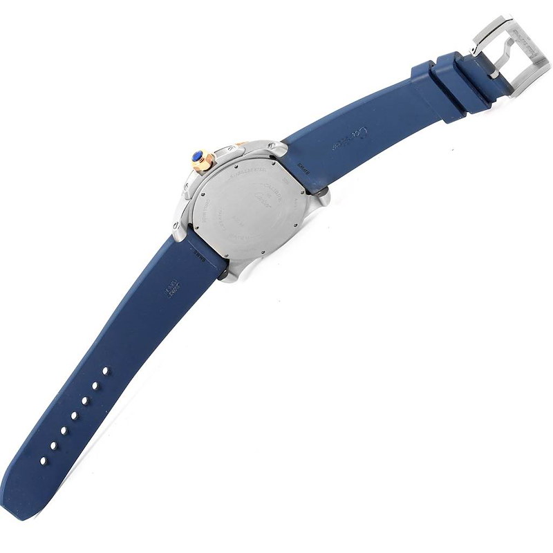 Cartier Calibre Diver Steel Rose Gold Blue Rubber Strap Watch W2CA0009 SwissWatchExpo