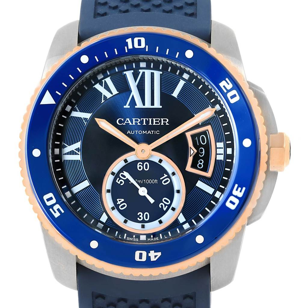 16682 cartier calibre diver steel rose gold blue rubber strap watch w2ca0009 swisswatchexpo