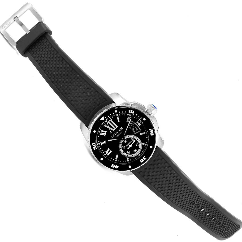 Cartier Calibre Diver Black Dial Rubber Strap Mens Watch W7100056 SwissWatchExpo