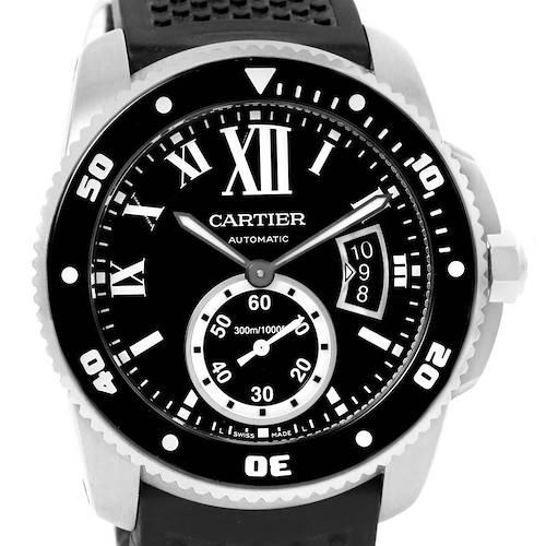 Photo of Cartier Calibre Diver Black Dial Rubber Strap Mens Watch W7100056