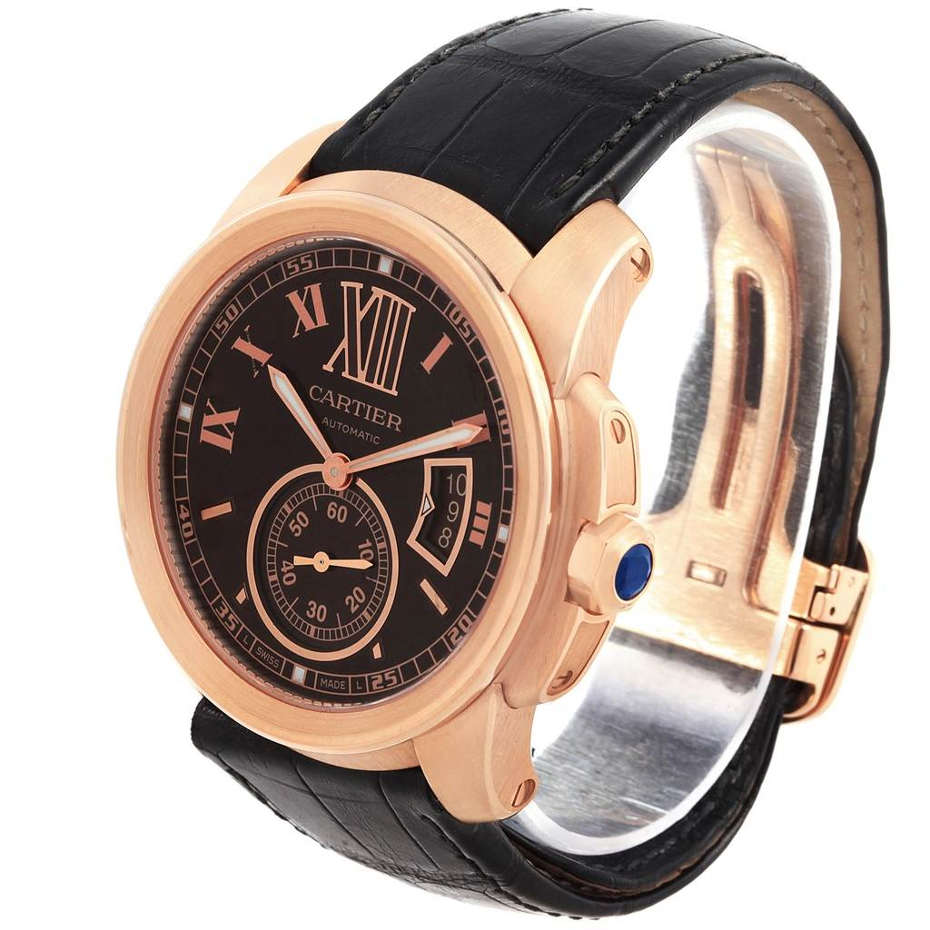 Cartier Calibre Rose Gold Brown Dial Automatic Mens Watch W7100007 SwissWatchExpo
