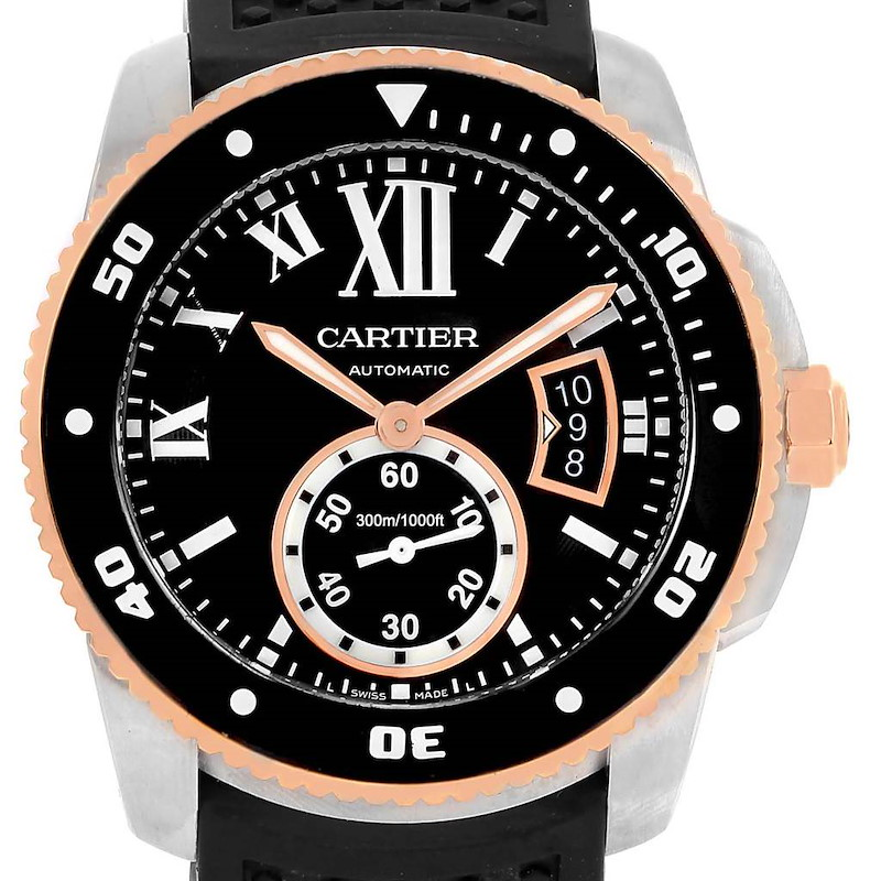 Cartier Calibre Diver Steel Rose Gold Rubber Watch W7100055 Box Papers SwissWatchExpo