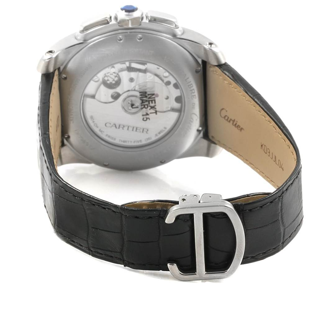 Cartier Calibre Chronograph Black Dial Steel Mens Watch W7100060 Unworn SwissWatchExpo