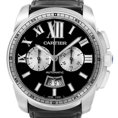 Photo of Cartier Calibre Chronograph Black Dial Steel Mens Watch W7100060 Unworn