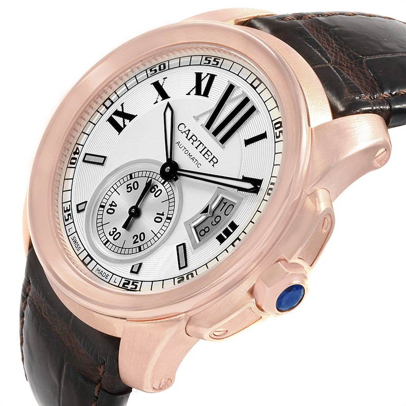 Cartier Calibre Rose Gold Silver Dial Automatic Mens Watch W7100009 SwissWatchExpo
