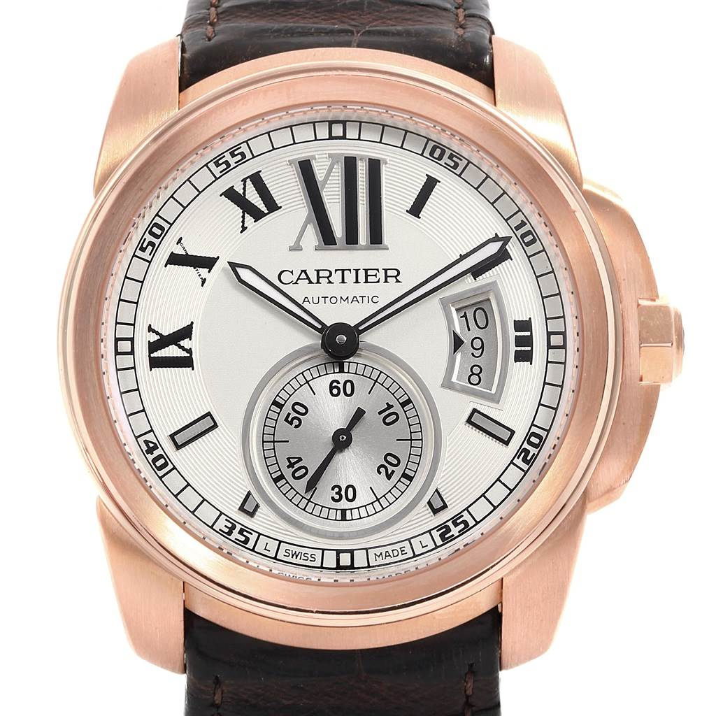 18712 Cartier Calibre Rose Gold Silver Dial Automatic Mens Watch W7100009 SwissWatchExpo