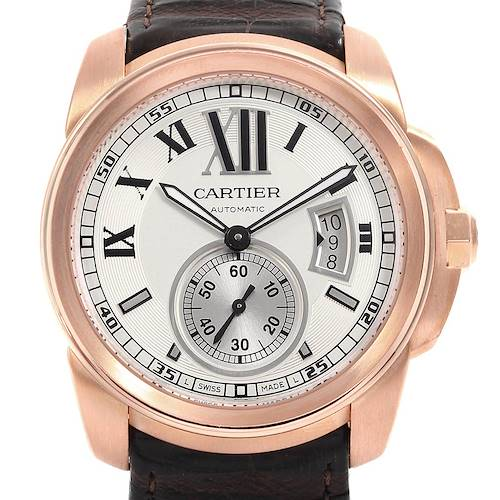 Photo of Cartier Calibre Rose Gold Silver Dial Automatic Mens Watch W7100009