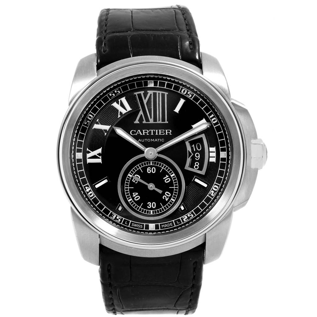 Cartier Calibre Steel Automatic Black Dial Mens Watch W7100014 SwissWatchExpo