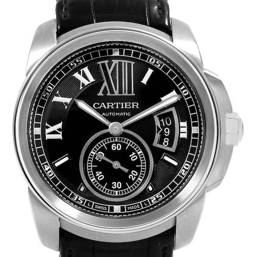 Photo of Cartier Calibre Steel Automatic Black Dial Mens Watch W7100014