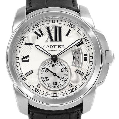 Photo of Cartier Calibre Silver Dial Steel Mens Watch W7100037 Box Papers