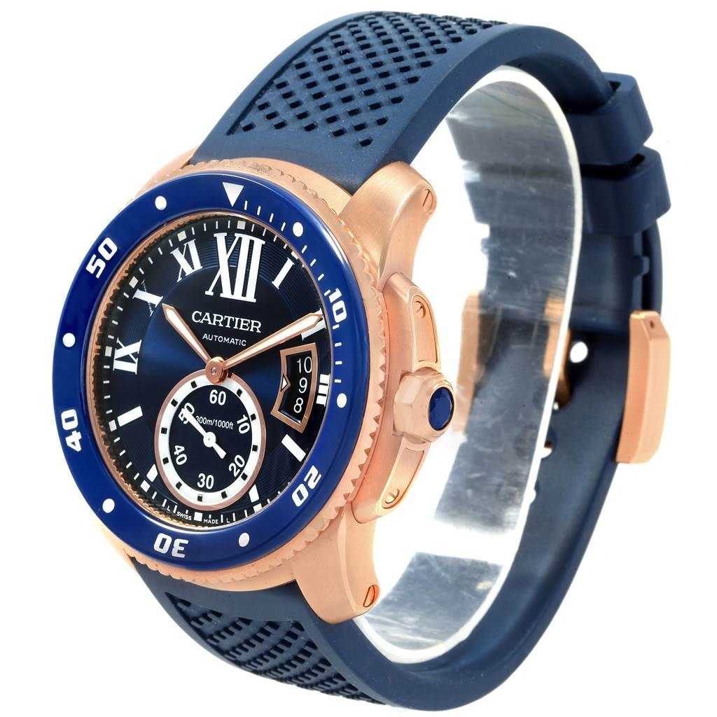 Cartier Calibre Diver Rose Gold Blue Rubber Watch WGCA0010 Box Papers SwissWatchExpo