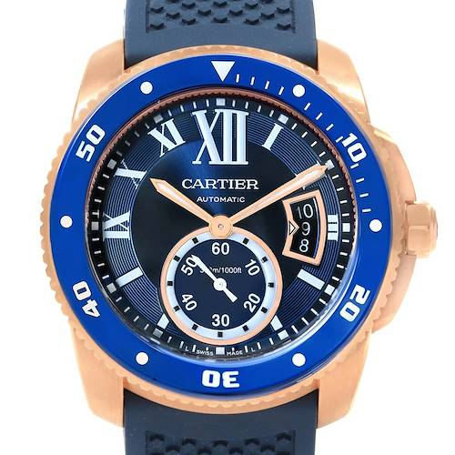 Photo of Cartier Calibre Diver Rose Gold Blue Rubber Watch WGCA0010 Box Papers
