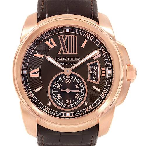 Photo of Cartier Calibre Rose Gold Brown Dial Automatic Mens Watch W7100007