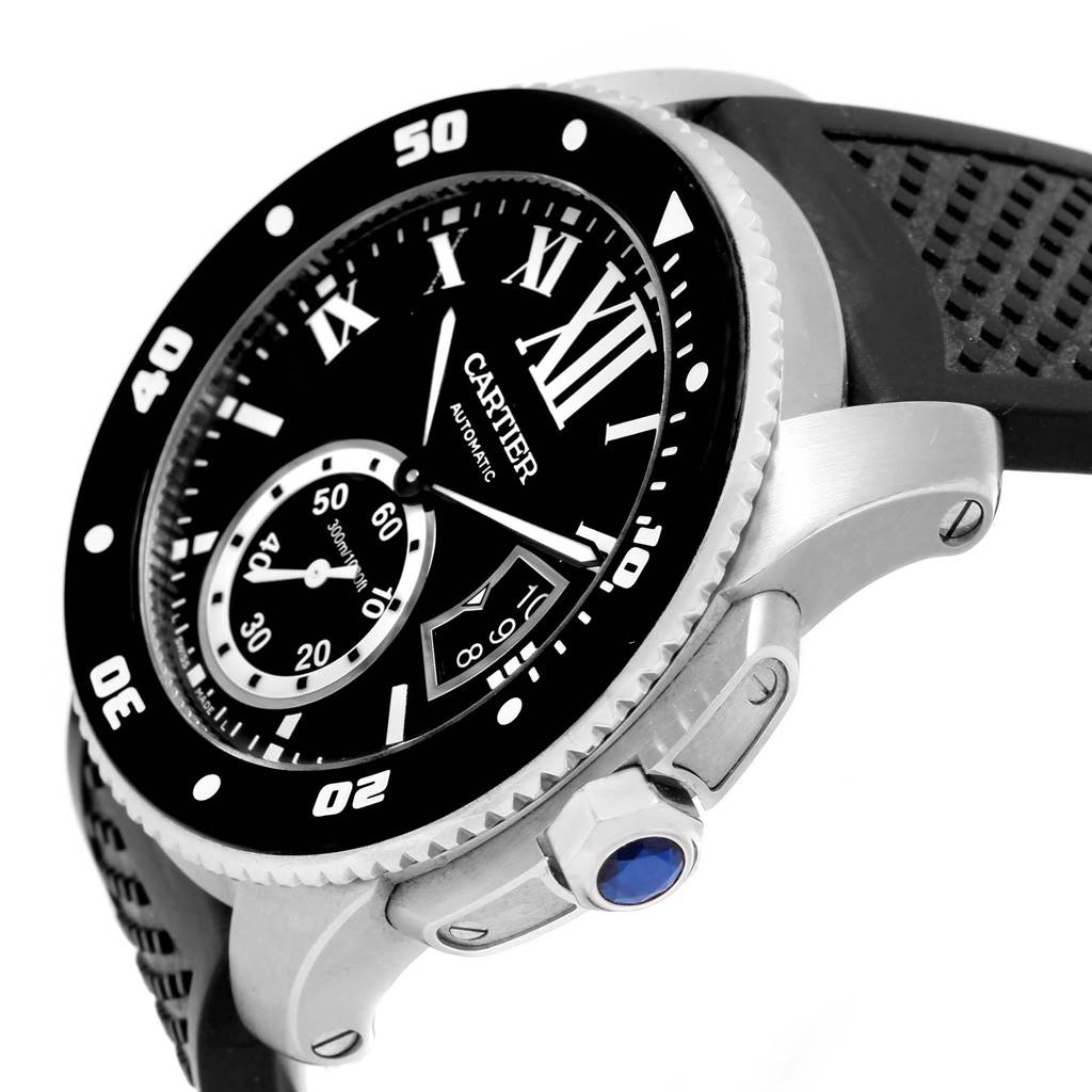 20304 Cartier Calibre Divers Rubber Strap Mens Watch W7100056 Box Papers SwissWatchExpo