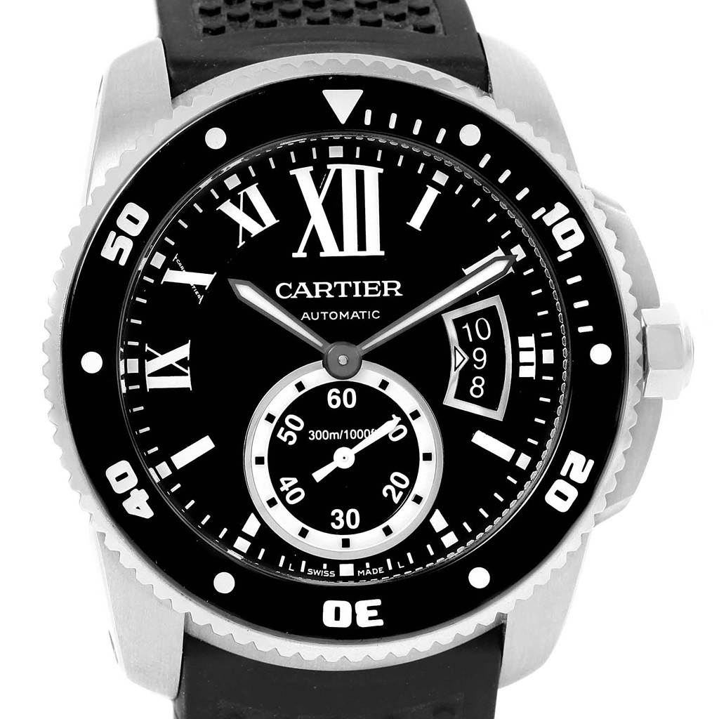 Cartier Calibre Diver Rubber Strap Mens Watch W7100056 Box Papers SwissWatchExpo